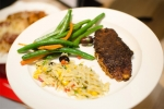 Blackened Tilapia with Herb Vegetable Orzo Salad, Green Beans and Carrots