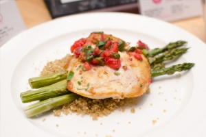 UMASS - Spicy Cumin Chicken with Strawberry Coulis, Quinoa and Grilled Asparagus